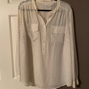 White/cream long sleeve blouse with silver dots